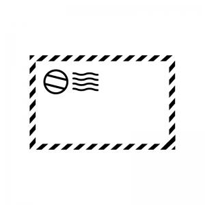 エアメールの白黒シルエットイラスト