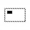 切手とエアメールの白黒シルエットイラスト