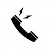 受話器越しから声が出ている白黒シルエットイラスト