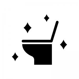ピカピカのトイレの白黒シルエットイラスト