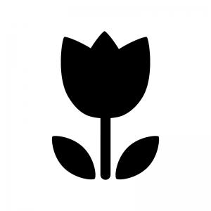 チューリップの白黒シルエットイラスト