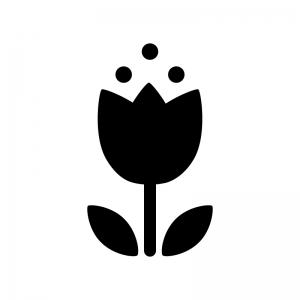 かわいいチューリップの白黒シルエットイラスト