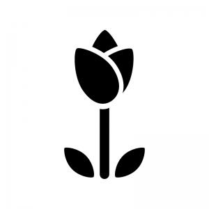 シンプルなチューリップの白黒シルエットイラスト
