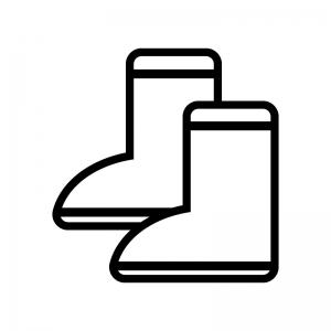 長靴の白黒シルエットイラスト02