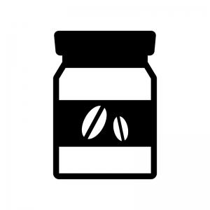 インスタントコーヒーの白黒シルエットイラスト