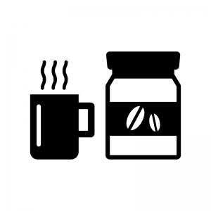 インスタントコーヒーとカップの白黒シルエットイラスト