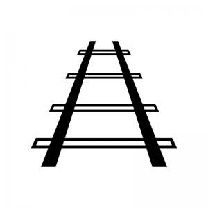 線路の白黒シルエットイラスト