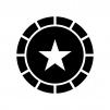 コインの白黒シルエットイラスト