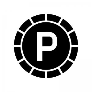 ポイントコインの白黒シルエットイラスト