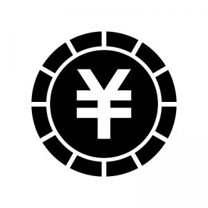 円コインの白黒シルエットイラスト