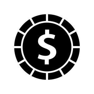 ドルコインの白黒シルエットイラスト