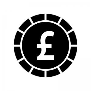 ポンドコインの白黒シルエットイラスト