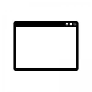 パソコン画面のウインドウの白黒シルエットイラスト02