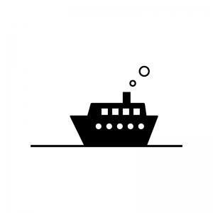 船の白黒シルエットイラスト