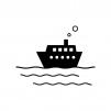 海と船の白黒シルエットイラスト