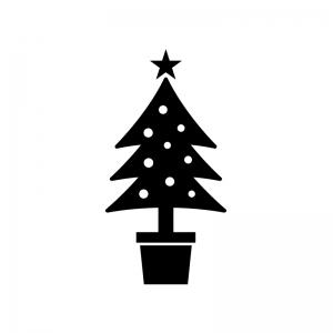 クリスマスツリーの白黒シルエットイラスト