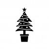 クリスマスツリーの白黒シルエットイラスト02
