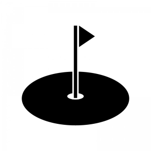 グリーン(ゴルフ)の白黒シルエットイラスト