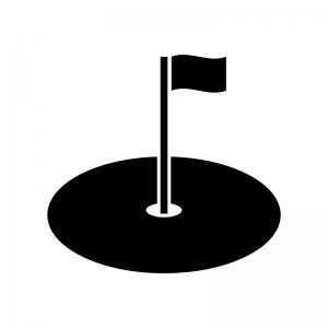 なびいた旗のグリーン(ゴルフ)の白黒シルエットイラスト
