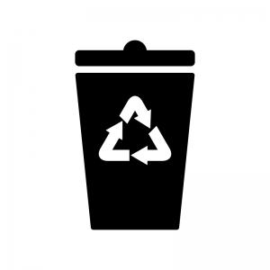 リサイクルマークのゴミ箱の白黒シルエット
