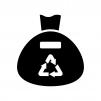 リサイクルマークのゴミ袋の白黒シルエットイラスト