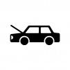ボンネットが開いた自動車の白黒シルエットイラスト
