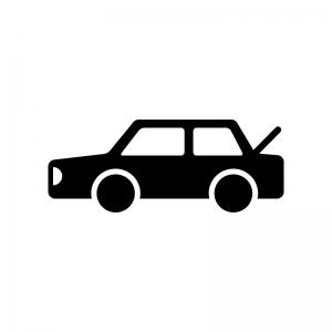 トランクが開いた自動車の白黒シルエットイラスト