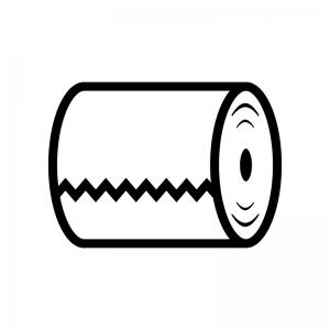 トイレットペーパーの白黒シルエットイラスト