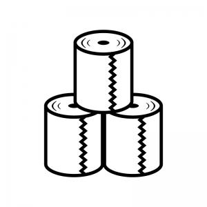積み上がったトイレットペーパーの白黒シルエットイラスト