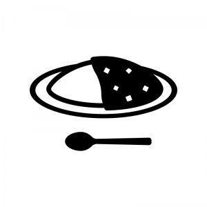 大盛カレーライスの白黒シルエットイラスト