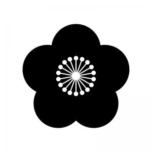 梅の花の白黒シルエットイラスト03