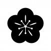 梅の花の白黒シルエットイラスト04