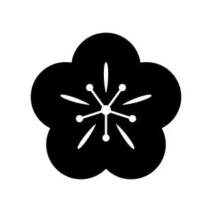 梅の花のシルエット04 無料のaipng白黒シルエットイラスト