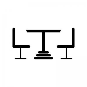 テーブルと椅子の白黒シルエットイラスト