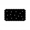 四角いビスケットの白黒シルエットイラスト