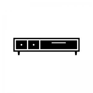 テレビボードの白黒シルエットイラスト