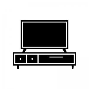 テレビボードとテレビの白黒シルエットイラスト