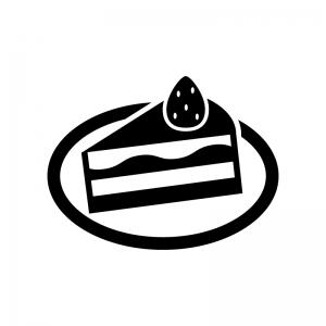 苺のショートケーキの白黒シルエットイラスト