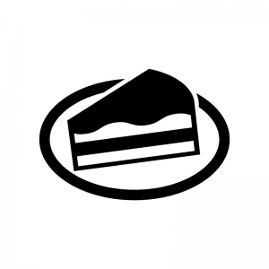 チョコレートケーキの白黒シルエットイラスト