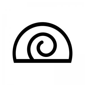 ロールケーキの白黒シルエットイラスト02