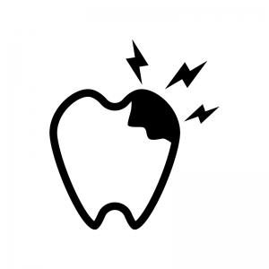 虫歯の白黒シルエットイラスト