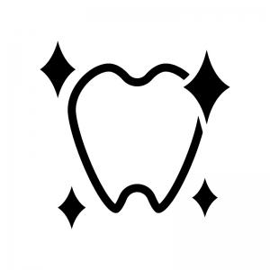 ピカピカの歯の白黒シルエットイラスト