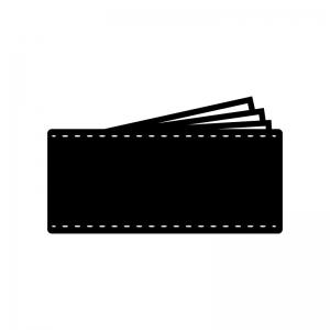 長財布の白黒シルエットイラスト