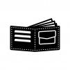折りたたみ財布の白黒シルエットイラスト