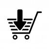 ショッピングカートに入れるの白黒シルエットイラスト