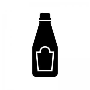 ケチャップの白黒シルエットイラスト