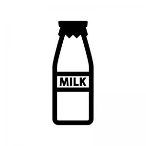 ミルクの白黒シルエットイラスト
