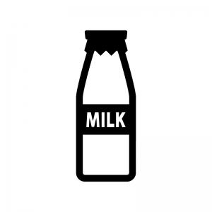 牛乳ビンの白黒シルエットイラスト