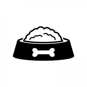 ドッグフードの白黒シルエットイラスト