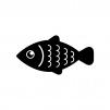 鱗が強調された魚の白黒シルエットイラスト